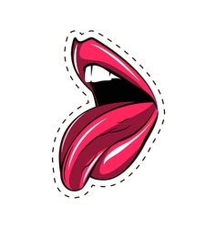 Pink lips tongue pop art retro poster element vector image vector image
