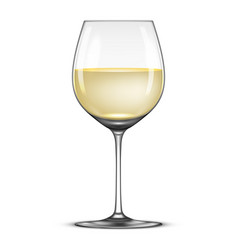 realistic wineglass with white wine icon vector image vector image