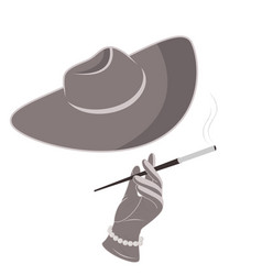 a lady in a hat and gloves smokes a cigarette vector image vector image