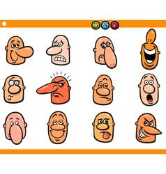 cartoon people emoticons heads set vector image
