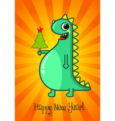Dragon and Christmas tree vector image vector image
