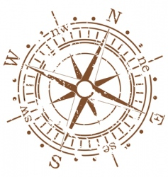 grunge compass vector image vector image