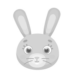 rabbit muzzle icon in monochrome style isolated on vector image vector image