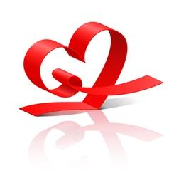 Red ribbon heart vector image vector image