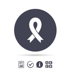 Ribbon sign icon breast cancer awareness symbol vector