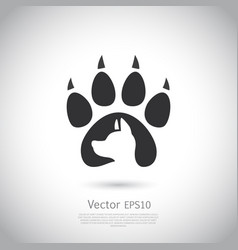icon with dog footprint and dogs head inside it vector image vector image