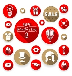 Icons set flat valentines love symbols vector image vector image