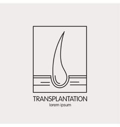 line logo of of hair transplantation vector image