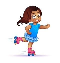 Little girl Latina rides on roller skates vector image