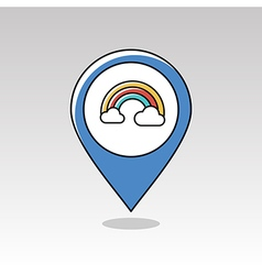 Rainbow in cloud pin map icon weather vector