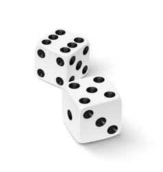 Realistic white dice icon vector image