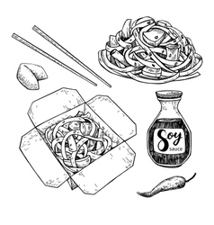 Wok drawing set Isolated chinese box and vector image