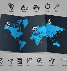 World map and different transportation icons vector image vector image