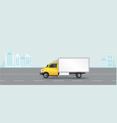 yellow truck template cargo van vector image