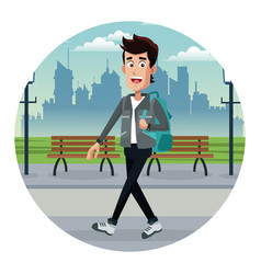 Young man with backpack park urban vector