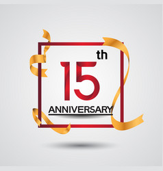 15 anniversary design with red color in square vector