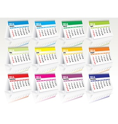 2014 desk calendar set vector