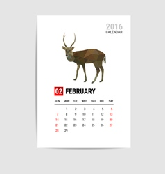 2016 February calendar deer polygon vector