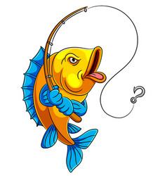 A cartoon fish holding fishing rod vector