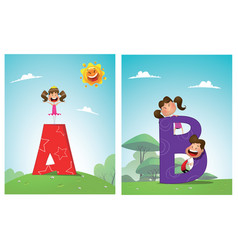 a set of pictures for learning the english vector image