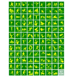 A Set of Yellow and Green Sport Icons vector image
