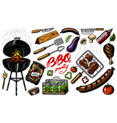 Barbecue grill set in vintage style drawn hand vector
