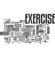 Barbell military press exercise text word cloud vector