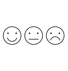 Basic emoticons set three facial expression of vector