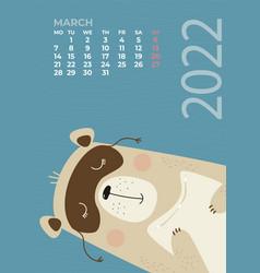 Bear calendar march 2022 cute sleeps vector