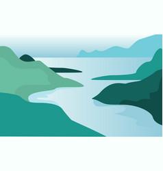 Beautiful summer natural landscape scene of vector