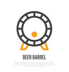 Beer barrel thin line icon symbol brewery vector