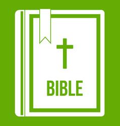 bible icon green vector image