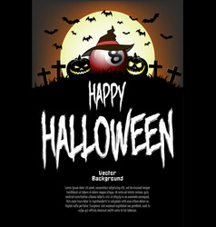 billiard ball with witch hat and happy hallowen vector image