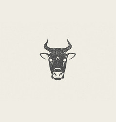 black cow head silhouette with horns designed for vector image
