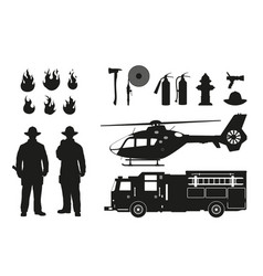 Black silhouette of firefighters and equipment vector