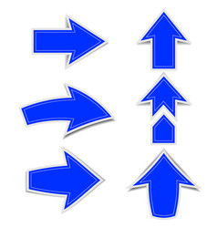 blue arrow marks a shadow on a white vector image