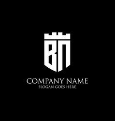 Bn initial shield logo design inspiration crown vector