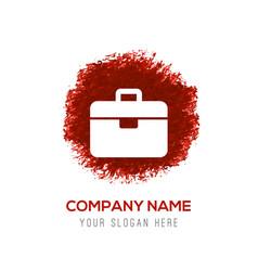 briefcase icon - red watercolor circle splash vector image