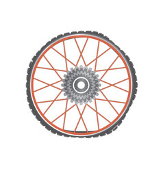 Broken metallic bicycle wheel with red spokes vector