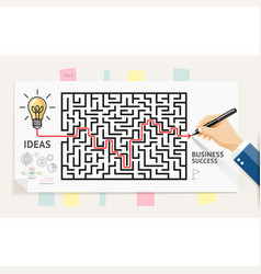 businessman hand drawing line maze labyrinth vector image