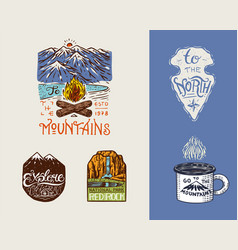 camping logo and labels mountains and pine trees vector image