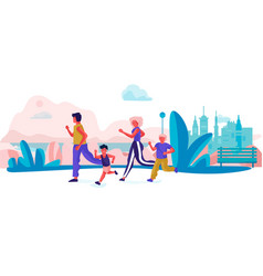 cartoon family running in park parents and vector image