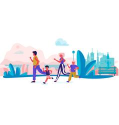 Cartoon family running in park parents vector