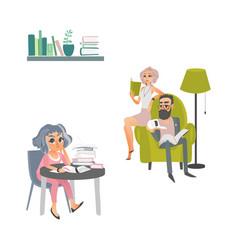 cartoon people reading books scene vector image