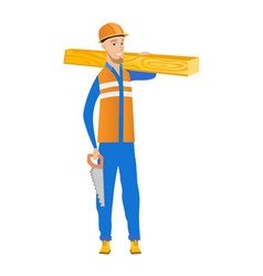 Caucasian carpenter holding saw and wooden board vector