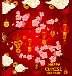 Chinese lunar new year wish greeting card vector
