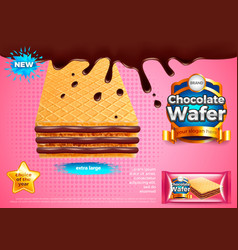 Chocolate wafer ads background vector