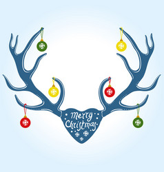 christmas decoration on reindeer horns vector image