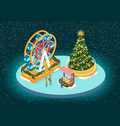 christmas image with tree and ferris wheel vector image