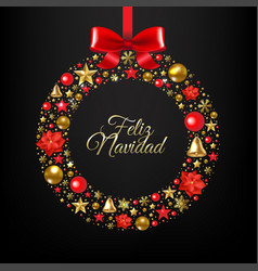christmas postcard with wreath and ball vector image